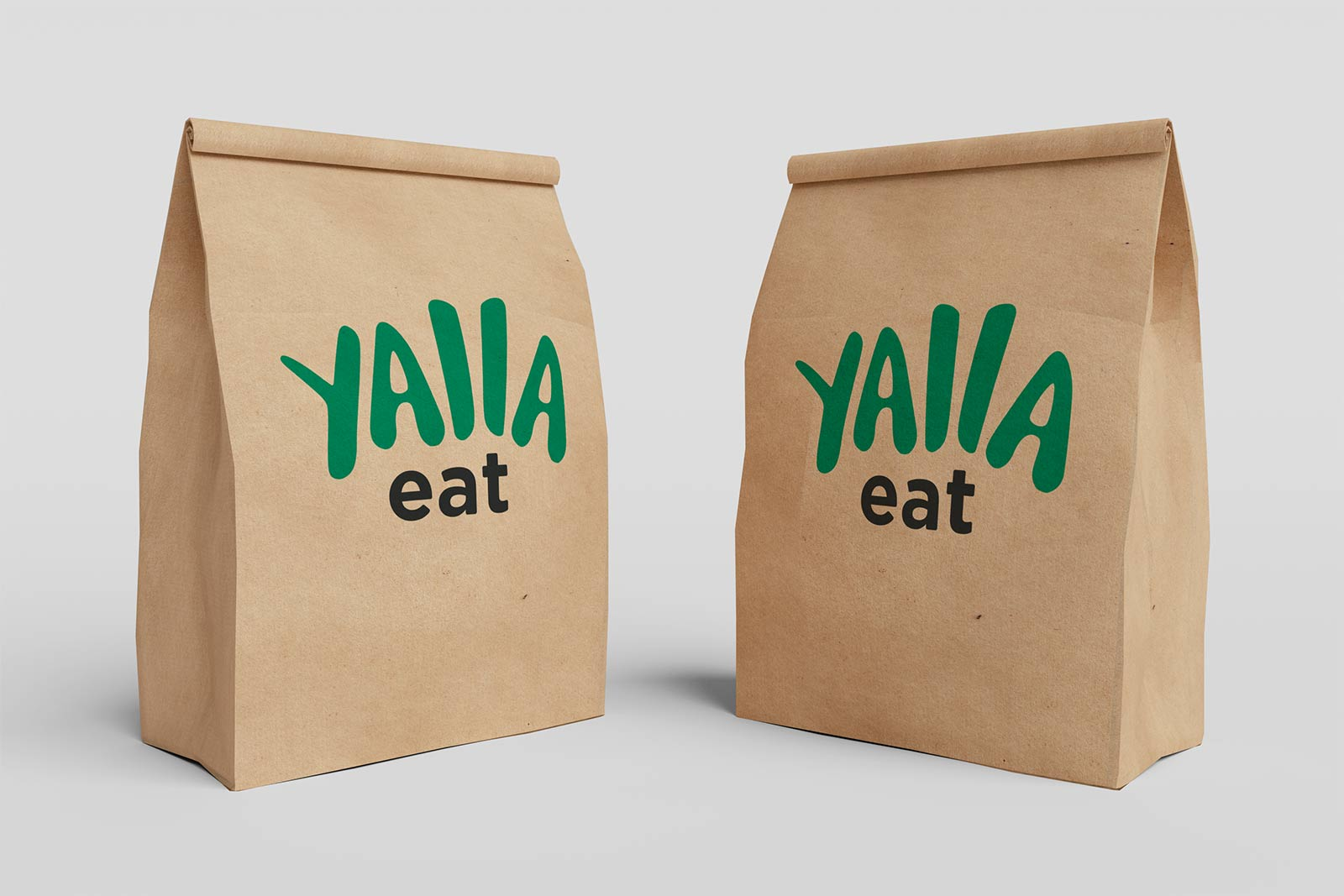 Yalla Eat Branded Paper Delivery Bag Mockup