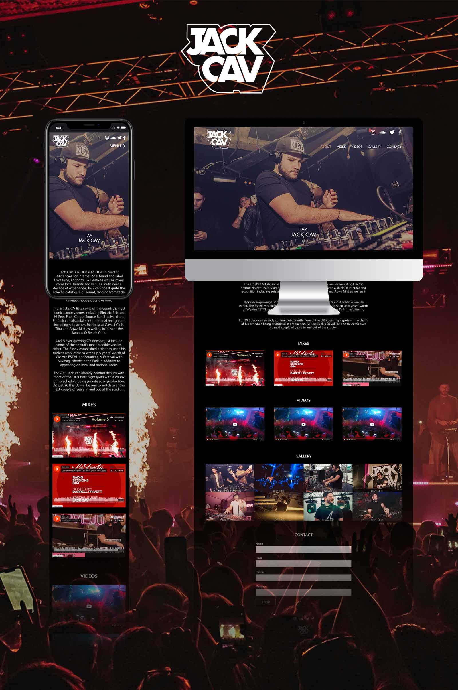 Jack Cav - Essex DJ Responsive Website Design